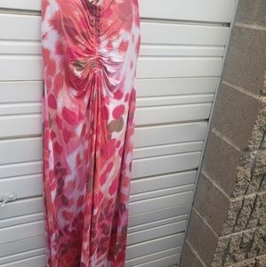 Tommy bahama pink & white summer dress sz m